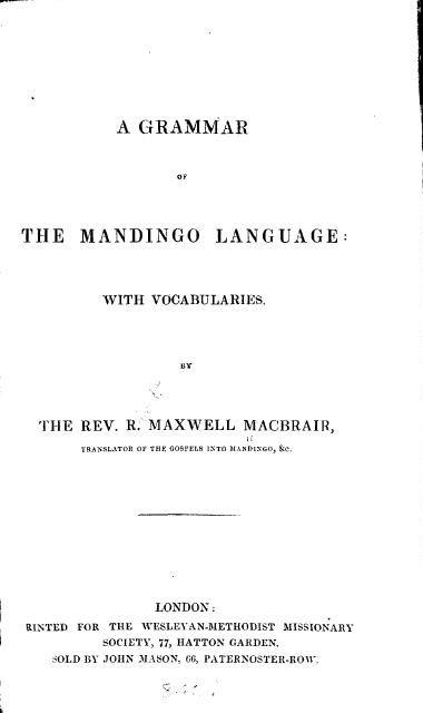 Reverend Maxwell MacBrair Mandingo Tranlator Book Cover