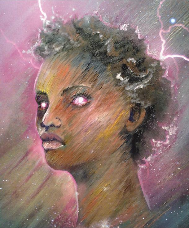 Oil of Nika of Shadow of the Conjurer by Jennifer Jones of Edmond, Oklahoma, daughter of Author, Steve Gierhart