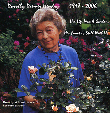 Dorothy with one of her over 300 varieties of Roses in her garden in Huntsville, Alabama