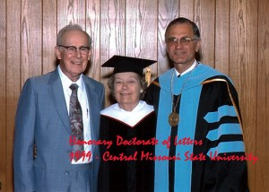 Dorothy and Wick Hendry in May 1999 after she received an honorary Doctorate of Letters from Central Missouri State University for her support of the literary and musical arts.