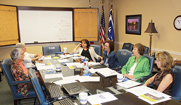 Members of Alabama Writers Forum and Huntsville Literary Association meet for the first time in a joint effort to improve and expand their separate high school writing contests.