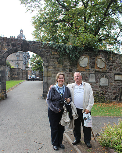 Wallace Ferguson and Bonny Gierhart at Greyfriars Kirk and Cemetery.  Bonny is the wife of publisher Steve Gierhart.
