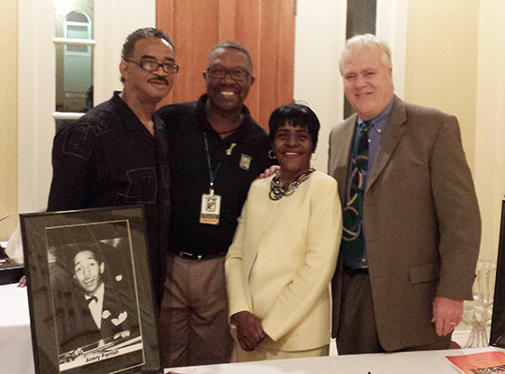 Ken Gurley, President of Tennessee Jazz Society and Howard Bankhead, its Executive Director, pose with Carol Ealons, author of Tuxedo Junction-Right Back Where I Belong, and Steve Gierhart, Publisher of The Ardent Writer Press.