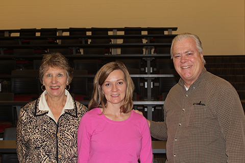 HLA members Mary Beth Walker (l) and Steve Gierhart (r), also publisher of the Ardent Writer Press, are seen with Hartselle High English teacher, Christy Radford