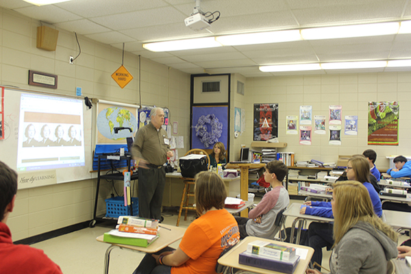 Steve Gierhart talks to Hatton High about HLA's Young Writers' Contest.  Hatton teacher, Monja Parker, arranged for the visit.  Here Hatton teacher Lori Crumpton looks on with her advanced placement students.
