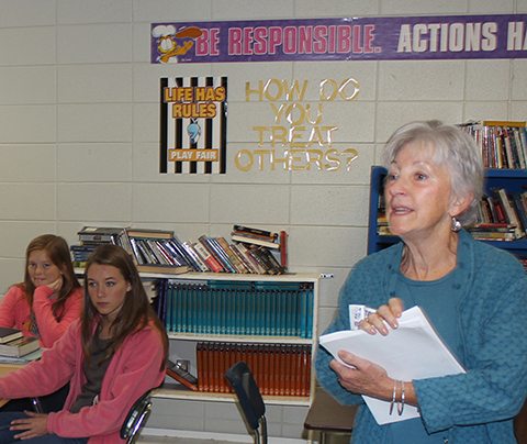 Nancy Corbeille talks to Hatton High about HLA's Young Writers' Contest.  Hatton teacher, Monja Parker, arranged for the visit.