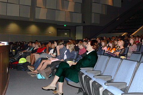 HLA member Mary Beth Walker looks on during the presentation to James Clemens High students on HLA's Young Writers' Contest