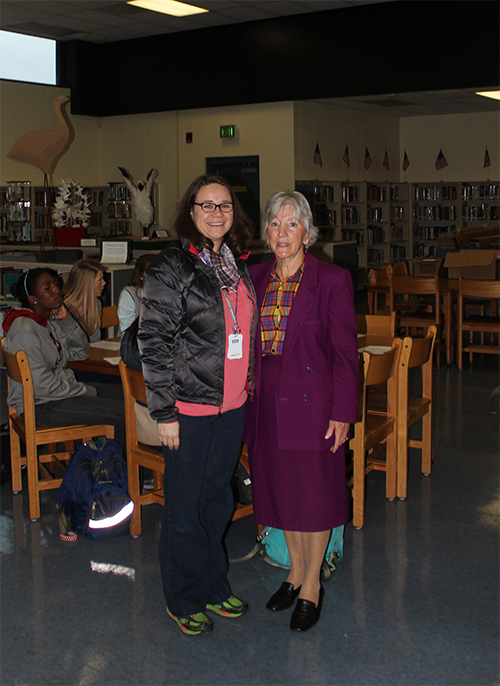 Austin Alana Haughaboo talks to HLA's Nancy Corbeille before the Young Writers presentation