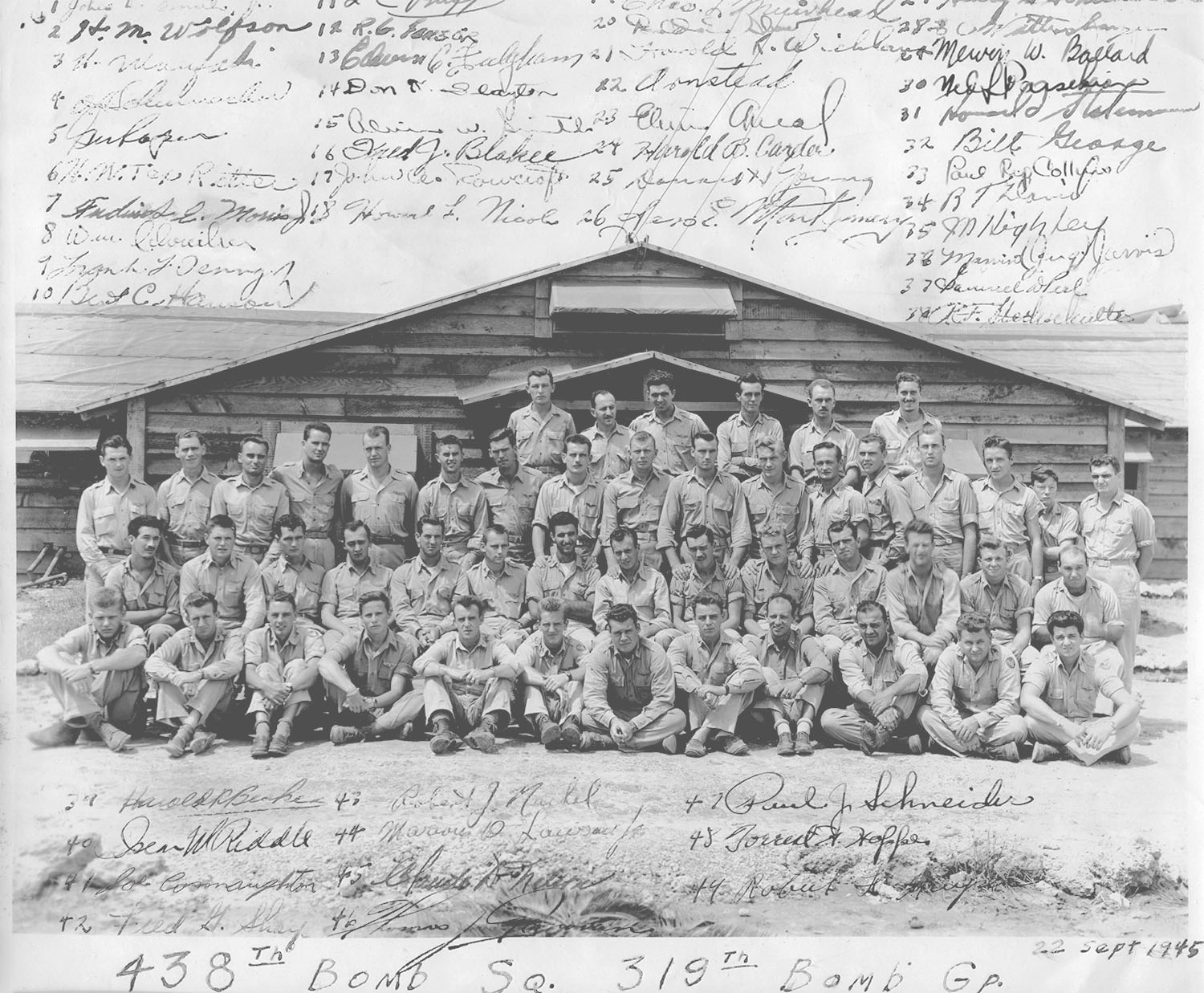 The Officers of the 438th Squadron in front of their officers club on Okinawa in September 1945