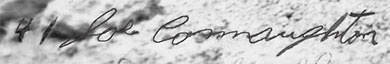 Joe's signature from their final photo together in the war