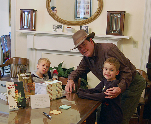 Butch with his grandchildren, Banks and Gaines, at the Auburn University book signing for Toker's Blood
