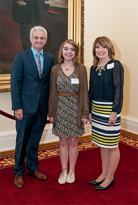 AWF President Kirk Concutt with poetry winner Cheyenne Dalton and teacher Holly Michaels at the AHSLAA award ceremony at the State Capitol in Montgomery