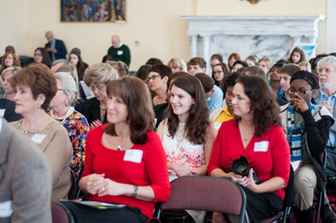 Mary Butgereit (poetry winner-Bob Jones HS: right front) sits with proud mom, Leigh, at the AHSLAA ceremony on March 12.