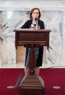 Executive Director Jeanie Thompson addresses the audience at the AHSLAA awards ceremony on March 12.