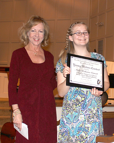 HLA Prez Dr. Eloise Alexander gives a Special Achievement Award to Molly Cornett at Huntsville Master Chorale's Spring is Bach
