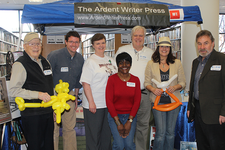 Ardent Writer Press authors meet Ashley Chappell-Peeples, coordinator of Rocket City Lit Fest at Local Authors Expo 2015 held on Saturday, Feb 7, at the Central Birmingham Public Library.