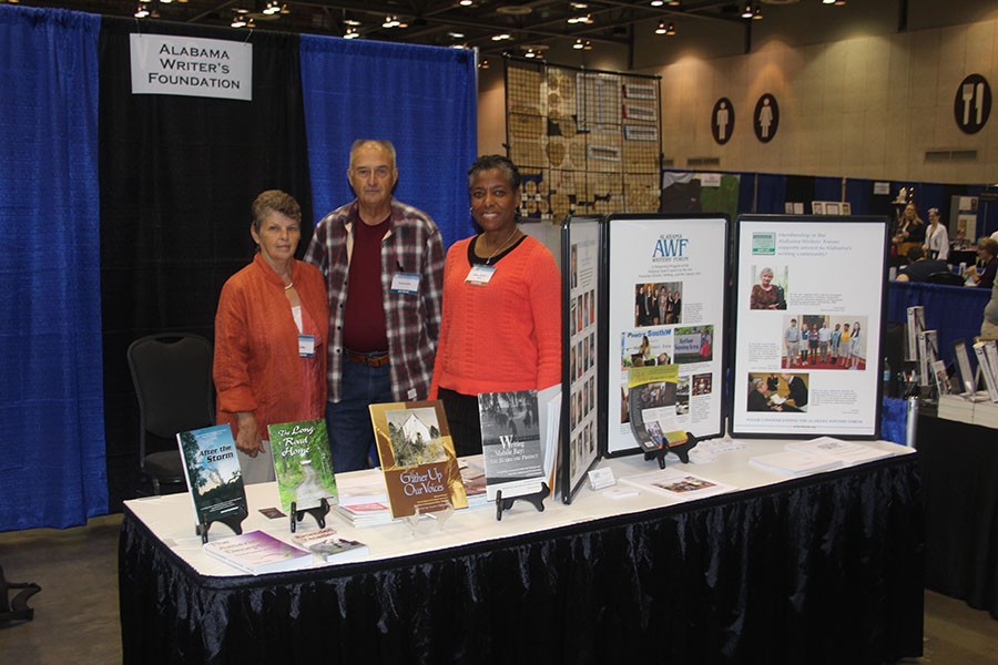 Doyle Duke (Extended Vacation) and his wife, Fay, and Mary Johnson (assistant to Anne Rutledge for her memoir, Granddaughter of a Runaway Slave Boy, far right) manned the Alabama Writers Forum booth during RCLF