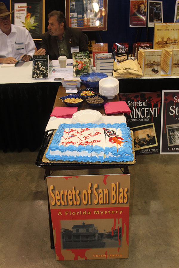 RCLF Cake made by Eric Herbert (Butcher's Bill); Butch Carroll (Toker's Blood) and Rob Williams (In Search of Brandon Springs) talking