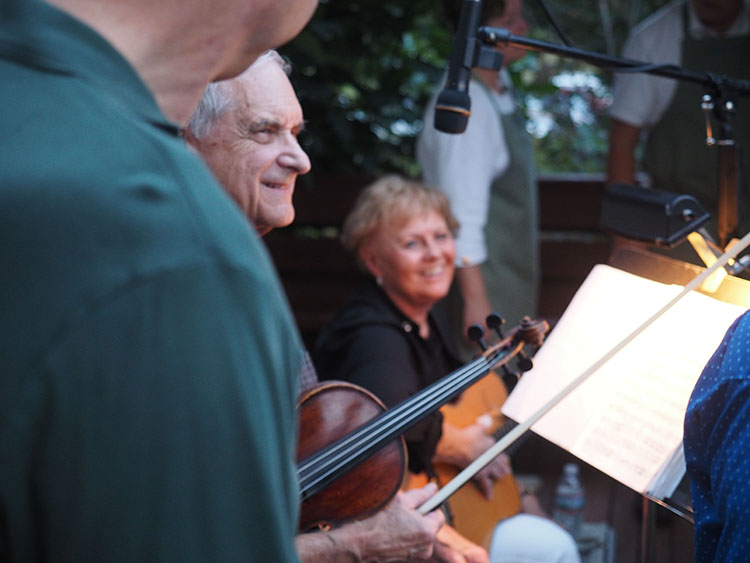 Bob and Leo Larkin provided entertainment at the RCLF Dinner Party in Brownsboro on Steve and Bonny Gierhart's farm