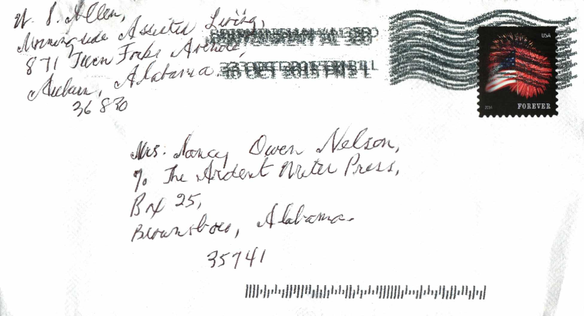Ward Allen ltr to Nancy Owen Nelson Envelope Oct 11 2015