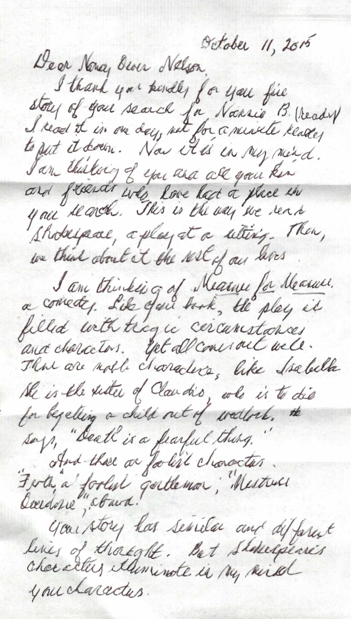 Page One of Ward Allen's letter to Nancy Owen Nelson