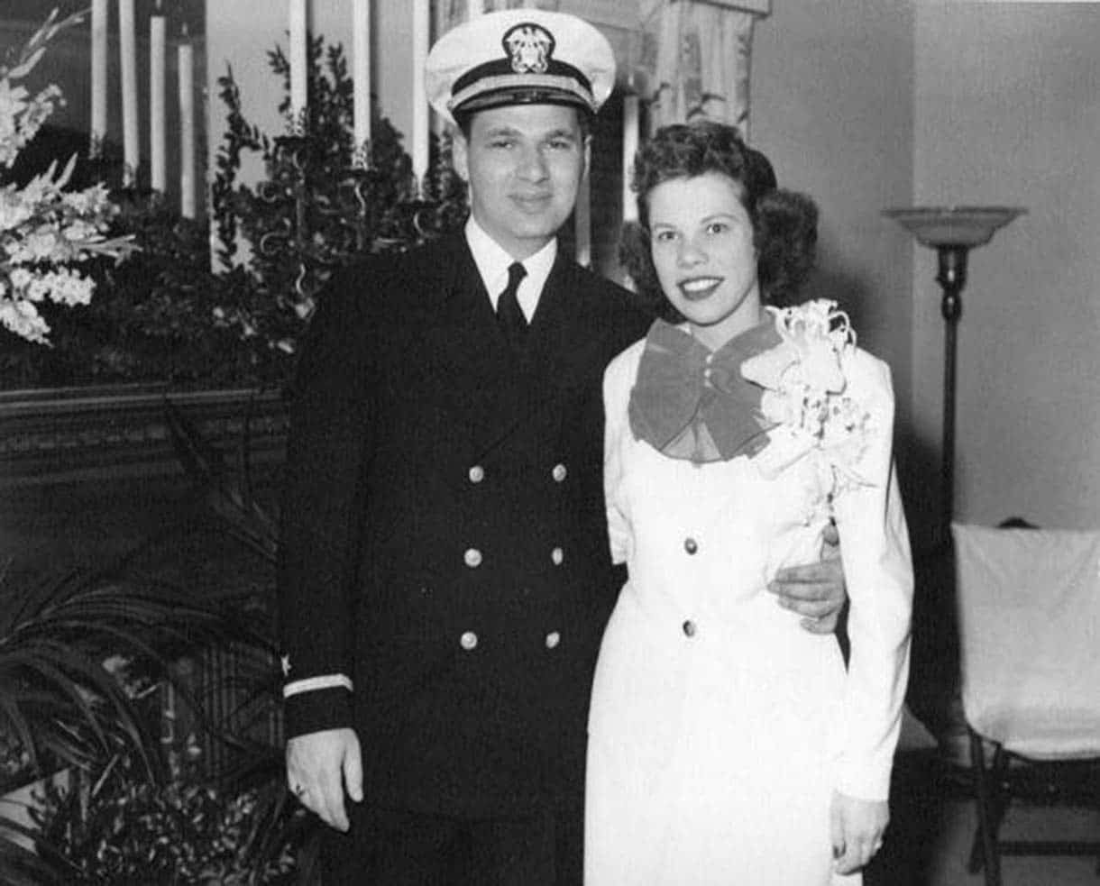 Elliot and Eileen Schubert at their military wedding in 1945